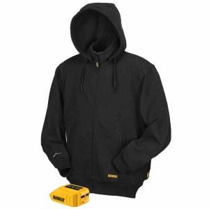 Black Dewalt heated jacket with hood