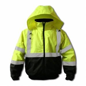 FORIBJ Hi-Vis Green Insulated Bomber Jacket