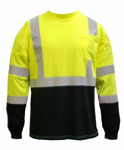 SFTU01 CLASS 3 LONG SLEEVE HI VIS BLACK BOTTOM T-SHIRT