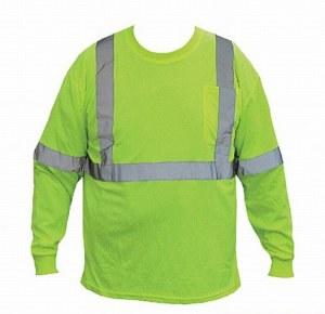 9051LS Green M Hi-Vis Long Sleeve Pocket T-Shirt