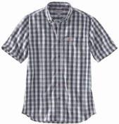 104174 Relaxed Fit Lightweight Short-Sleeve Button-Front Plaid Shirt