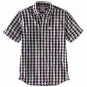 104174 Relaxed Fit Lightweight Short-Sleeve Button-Front Plaid Shirt