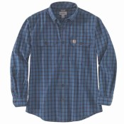 104447 Original Fit Chambray Long-Sleeve Plaid Shirt
