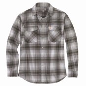 104449 Rugged Flex® Relaxed Fit Flannel Long-Sleeve Snap-Front Plaid Shirt