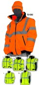 75-1382 Class 3 Hi-Vis 8 in 1 Fleece Lined Waterproof Jacket