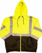 MWHVFU-03 HIGH VISIBILITY HOODED SWEATSHIRT WITH ZIPPER CLOSURE