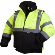 RJ3210 HI VIS BLACK BOTTOM BOMBER JACKET