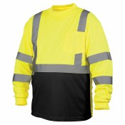 RLTS3110B HI VIS LONG SLEEVE BLACK BOTTOM T-SHIRT