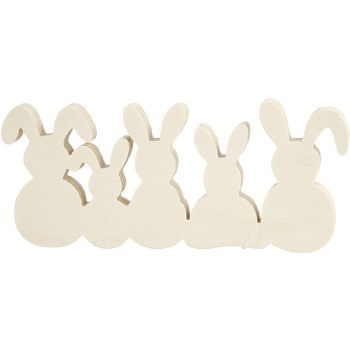 Five rabbits in light wood