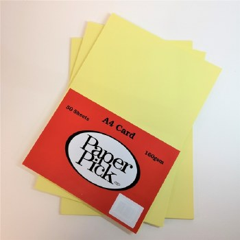 A4 Paperpick Light Yellow Card 50s