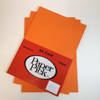 A4 Paperpick Orange Card 50s