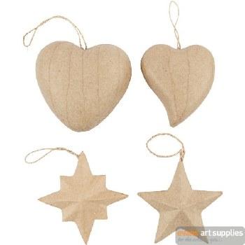 Papier Mache Heart/Star each