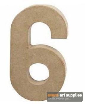 Papier Mache Large Number 6