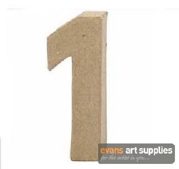 Papier Mache Small Number 1