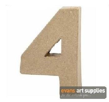 Papier Mache Small Number 4