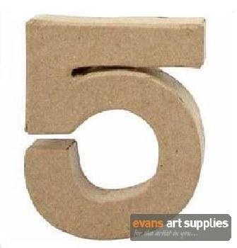 Papier Mache Small Number 5