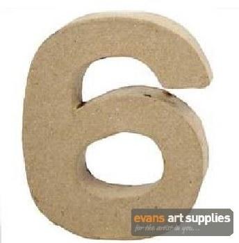Papier Mache Small Number 6