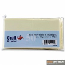 3x3 Ivory Card & Envelopes 50s