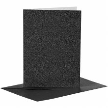 Card & Envelope Black Glitter
