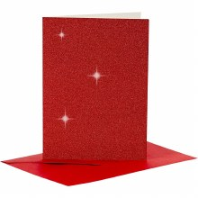 Card & Envelope Red Glitter
