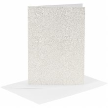 Card & Envelope White Glitter