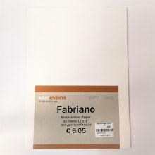 "Fabriano Watercolour Paper 12x16"" 10 Sheets"