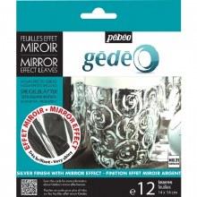 Gedeo Pack of 12 Mirror Effect Metal Leaves Silver