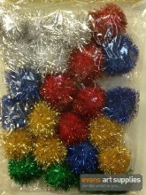 Glitter Pom Poms 30mm 24s