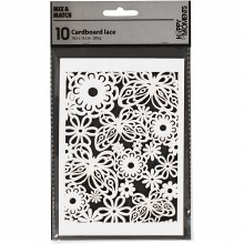Lace Pattern Flower & Butterfly 10.5x15cm White 10s