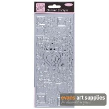 Outline Stickers Hearts Silve*