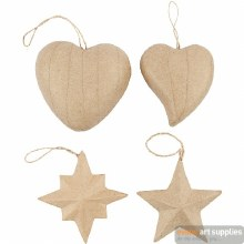 Papier Mache Heart/Star each