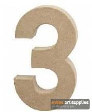 Papier Mache Large Number 3