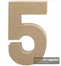 Papier Mache Large Number 5