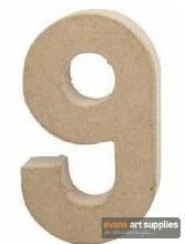 Papier Mache Large Number 9