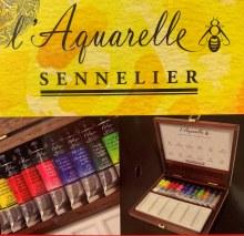 Sennelier L'Aquarelle Watercolour Set 12x10ml in Walnut Wooden Box