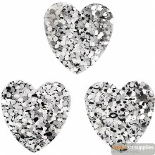 Sequins silver 15 mm Heart 10g