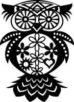 Silhouette Stencil Flower Owl