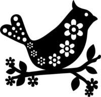 Silhouette Stencil Med Bird Fl