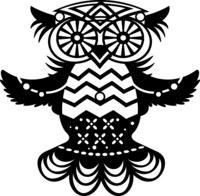 Silhouette Stencil Med Fly Owl