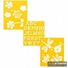 "Stencil 3pk 7x10"" Flowers"