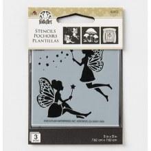 """Stencil 3x3"""" Fairies & Mushroo"""