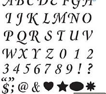 Stencils 48pk Wedding Letters