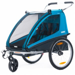 Thule Coaster 2 Bike Trailer and Child Stroller for 2 Children - Blue