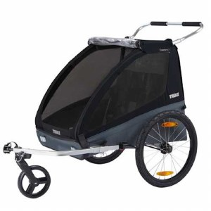 Thule Coaster XT Bike Trailer and Child Stroller for 2 Children - Black