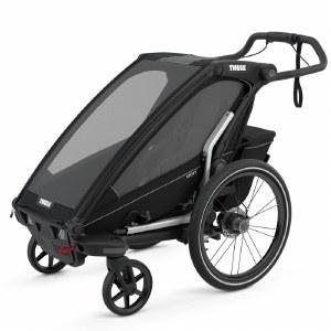 Thule Chariot Sport 1 - Multisport Stroller and Bike Trailer - Black with Black Frame