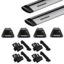 Yakima RidgeLine JetStream Roof Rack Package - Fits Flush Side Rails - Silver