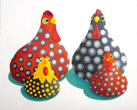 Angola Chickens Oil on Canvas