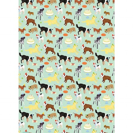 Gift Wrap Roll Birthday Dogs