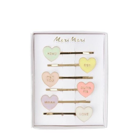 Hair Slides Love Hearts Enamel
