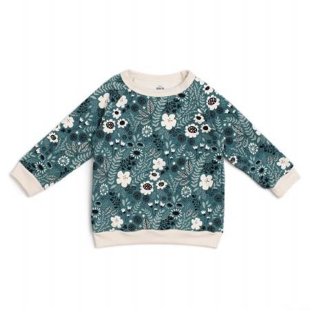 Sweatshirt Teal Flower 12-18m